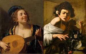 Gerrit van Honthorst, Femme accordant son luth. Caravage, Jeune Garçon mordu par un lézard.